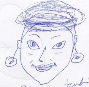 African turban, lipstick, earrings